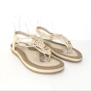 Women's Socofy Tan Khaki T String Sandal Size 39